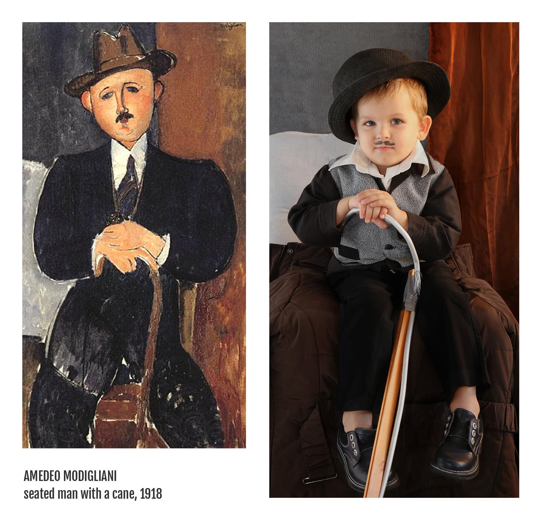 Amedeo Modigliani - seated man with a cane