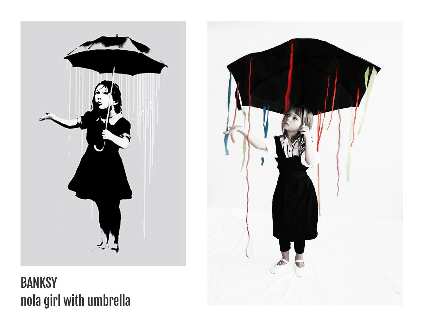 Banksy - Nola girl with umbrella