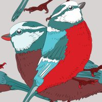 red-blue-bird-seamless-pattern